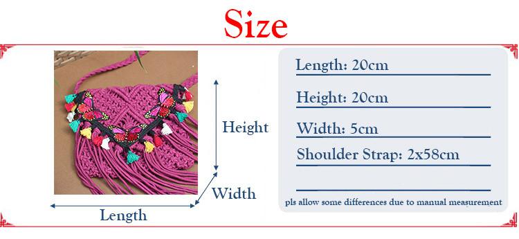 Crochet Bags Tassels Cross Bags