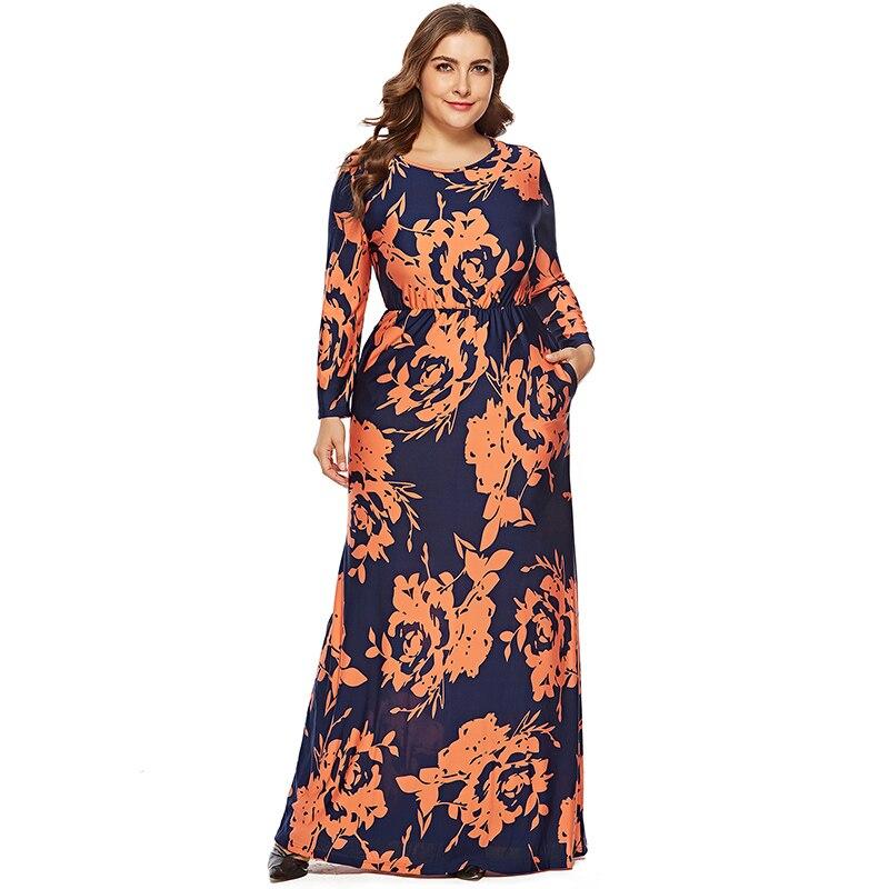 style roman 2019 meilleurs en arrivant 2019 automne hiver femmes Robe O cou à manches longues grande taille 6XL  imprimé fleur Robe longue femme Vestidos largos