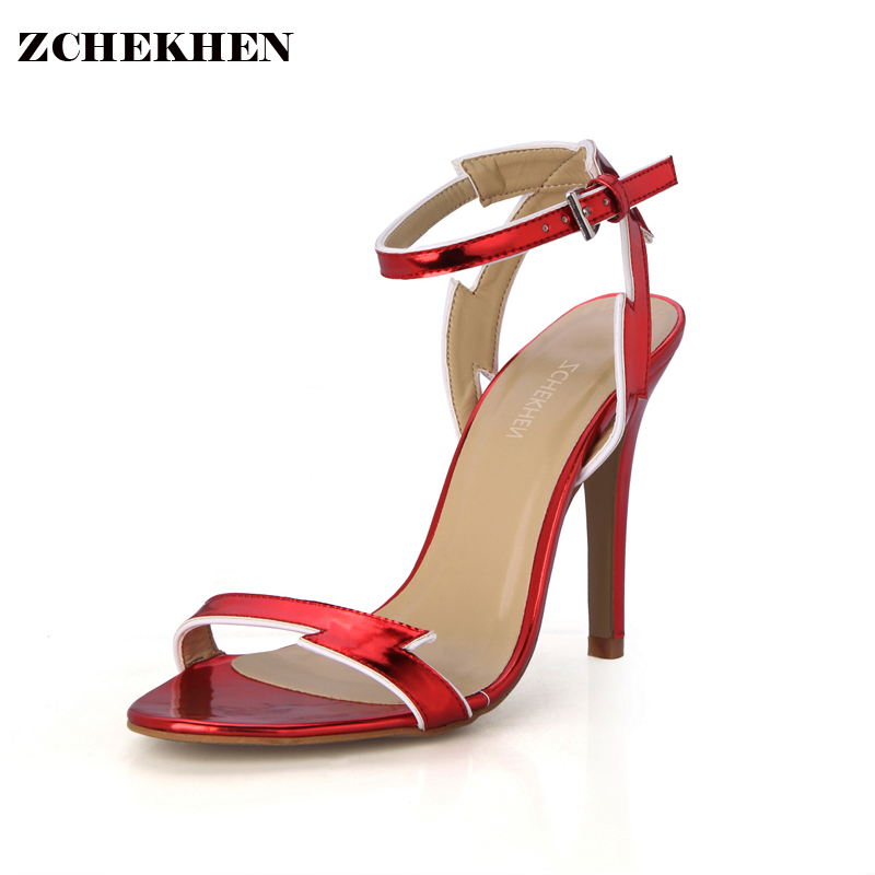 Luxury RED leaf flame Sexy Party Wedding 10CM High Heel Platform sandals sapato feminino sandalia feminina 5186 17 in High Heels from Shoes