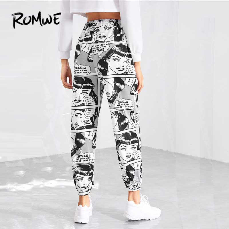 a307cfb4e52e ... ROMWE Drawstring Waist Figure Print Pants 2019 Mid Waist Tapered Carrot  Crop Pants Stylish Spring Autumn ...