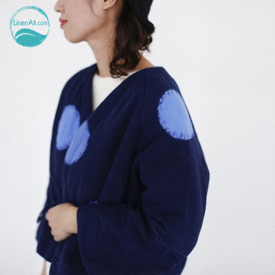 LinenAll original design dark blue vintage national trend winter thickening cotton-padded short jacket wadded jacket female muyi napapijri guji check dark blue