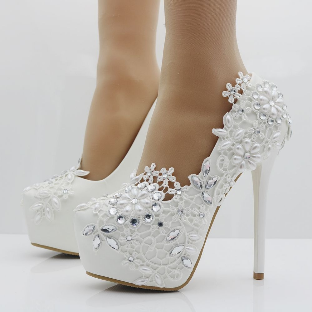 Elegant Heels Fashion White Lace Flower Rhinestone Pumps