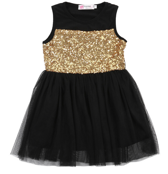 New Baby Kids Girls Toddler Princess Dresses Clothing Pageant Party Black Sequined Lace Mini Gold Formal Clothes Girl Dress 4