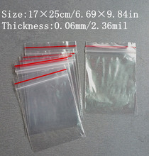 By Express 500pcs 17x25cm Thick 0.06mm Self Sealing Zipper Ziplock Plastic Package Reclosable Clip Chain Grocery Valve Bags(China (Mainland))