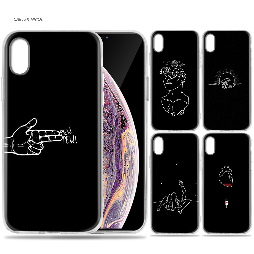 Case for iPhone 7 8 6 6s Plus 5 5S SE 5C X XS MAX XR Silicone Coque Cases Cover Funny Dark Memes Pew Pew image