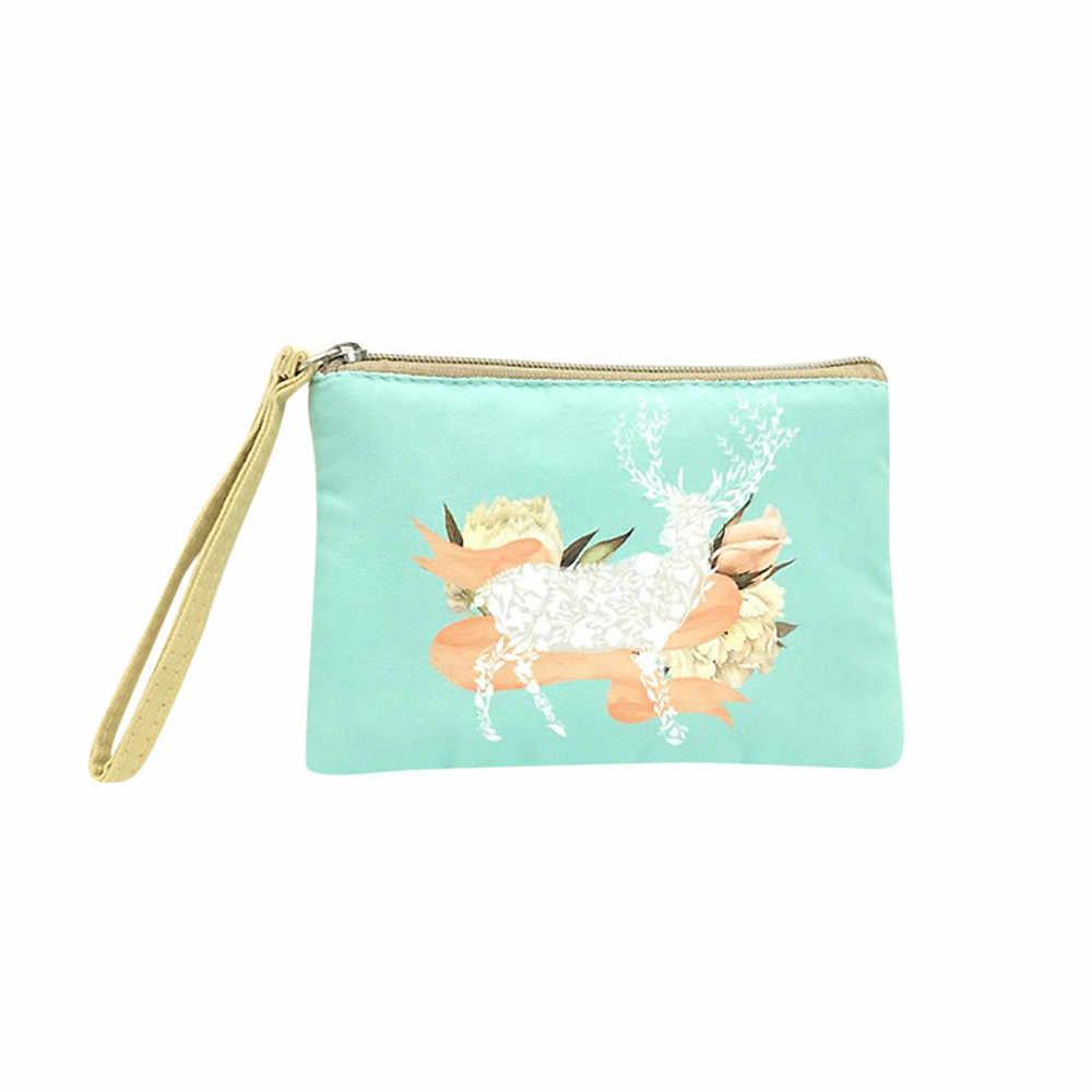 Bolsa de moedas bonito pequeno fresco impressão floral lona dinheiro carteira moda compõem saco de celular bolsa com zíper feminino meninas 2019