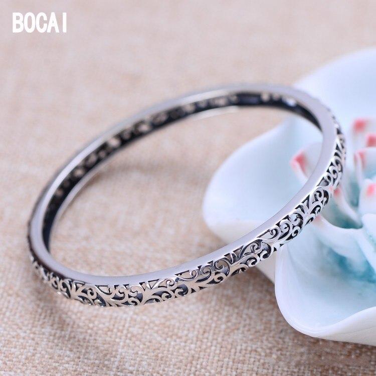 Vente en gros 925 bijoux en argent sterling exquis creux ancien rotin modèle femmes bracelet