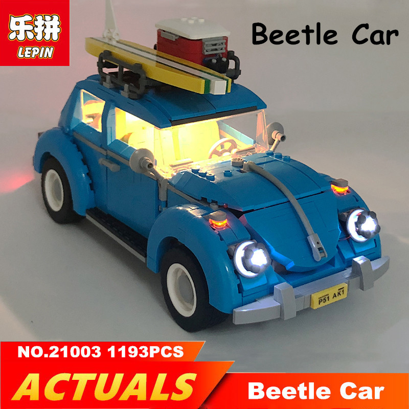 Galleria fotografica Lepin blocks Beetle Car 21003 with LED Light Set Creator Bule race Car <font><b>Legoing</b></font> <font><b>technic</b></font> 10252 1193PCS Toys for children blocks