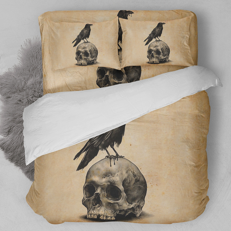 Wongsbedding Skull Bird Retro Bedding Set HD Print Yellowed Duvet Cover Sets Twin Full Queen King Size 3PCS Customed Bedding