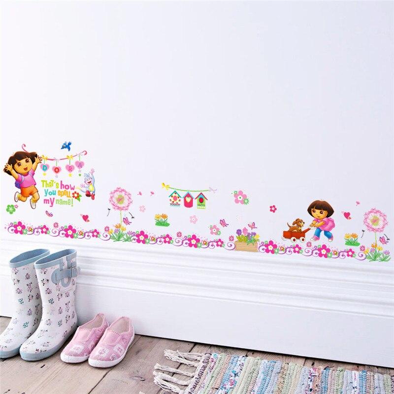 Мультфильм Дора Сапоги и ботинки для девочек обезьяна Наклейки на стену для Детей сад номера цветок наклейки росписи Плакат Детская комнат...