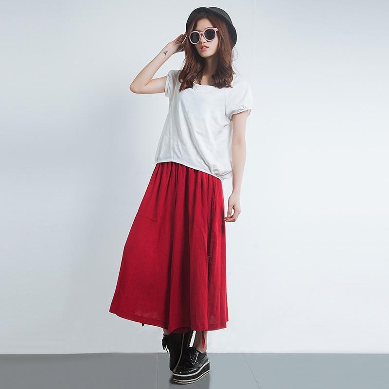 Qiukichonson Cotton Linen Pants Women 2019 Spring Summer Literary Vintage Middle Aged Women Elastic Waist Casual Wide Leg Pants