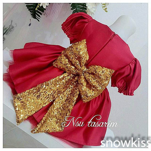 2016 Cute Red flower girl dresses with Golden Bow baby Birthday Party Dress beauty toddler girl pageant dresses ball gowns