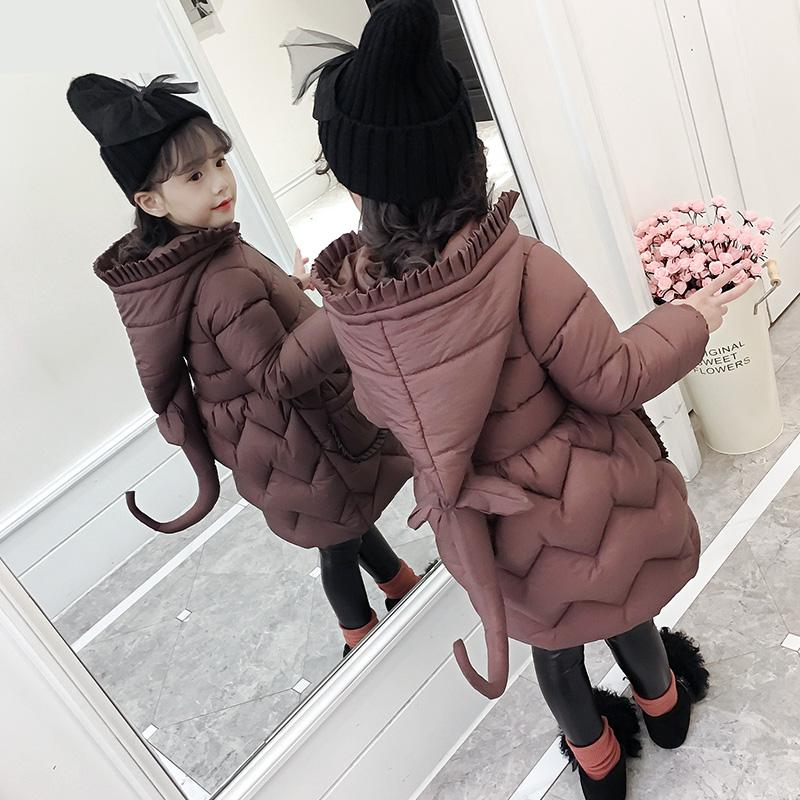2018 Winter Girls Coat Warm Girls Children Outerwear Coat Cotton Paddad Kids Girls Winter Clothing Fashion Princess Wear Costume chouchouchic winter children clothing girls dress party wear cotton short sleeve chinese style winter qipao red forest