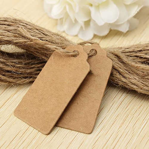 100PCS Natural Brown Kraft Paper Tags With Jute Twine For DIY Gifts Crafts Price Tags Luggage Tags Name Tags Scallop Label