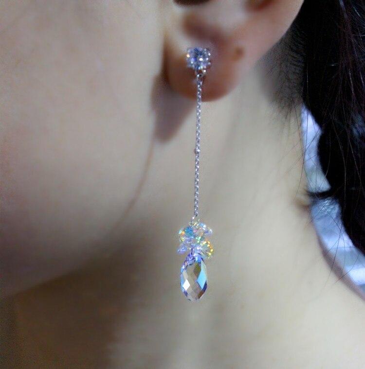Boucles d'oreilles en cristal autrichien zircon boucles d'oreilles section longue plaque coréenne offre spéciale S925 bijoux d'oreilles en argent sterling