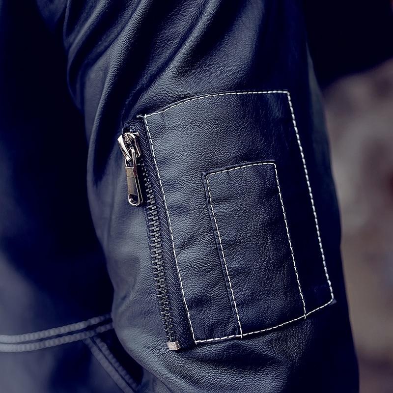 QIMAGE motociklų odinės striukės Vyriškos mados žieminės - Vyriški drabužiai - Nuotrauka 4