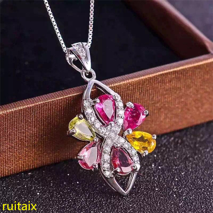 KJJEAXCMY boutique jewels S925 silver natural crystal tourmaline diamond necklace pendant set necklace chain. bk 4371 18k alloy crystal artificial fancy color diamond pendant necklace golden 45cm