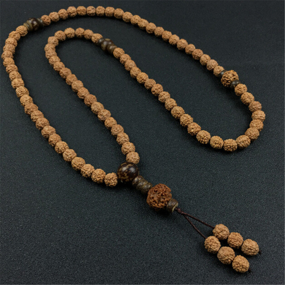 8mm Natural 5 Petals Rudraksha Beads Prayer Bracelet Or Necklace Yoga Meditation Strand Mala Fashion Men's Jewelry Wholesale