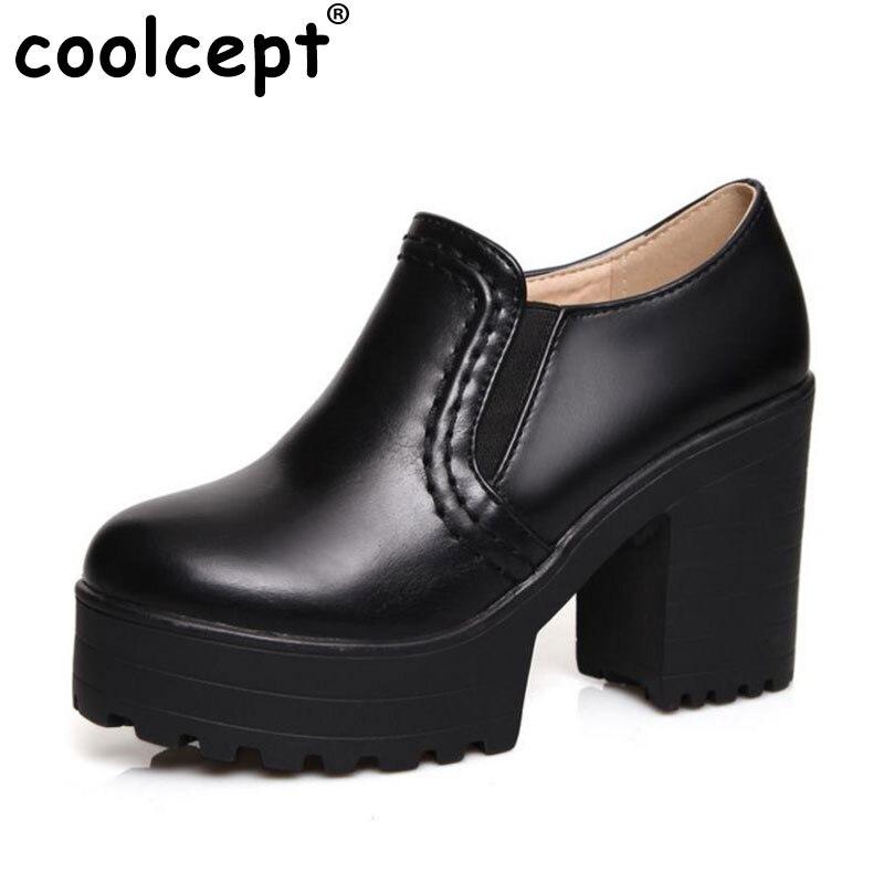 Coolcept Taille 34-46 Femmes Cheville Bottes Vintage Carré Haute Talons Parti Casual Robe Extérieure Chaussures Moins Plate-Forme Bottes