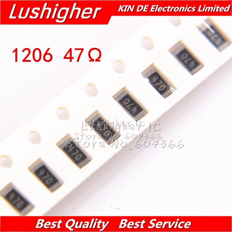 100 шт. 1206 SMD резистор 5% 47ohm 470 47 Ом 47R|Резисторы|   | АлиЭкспресс