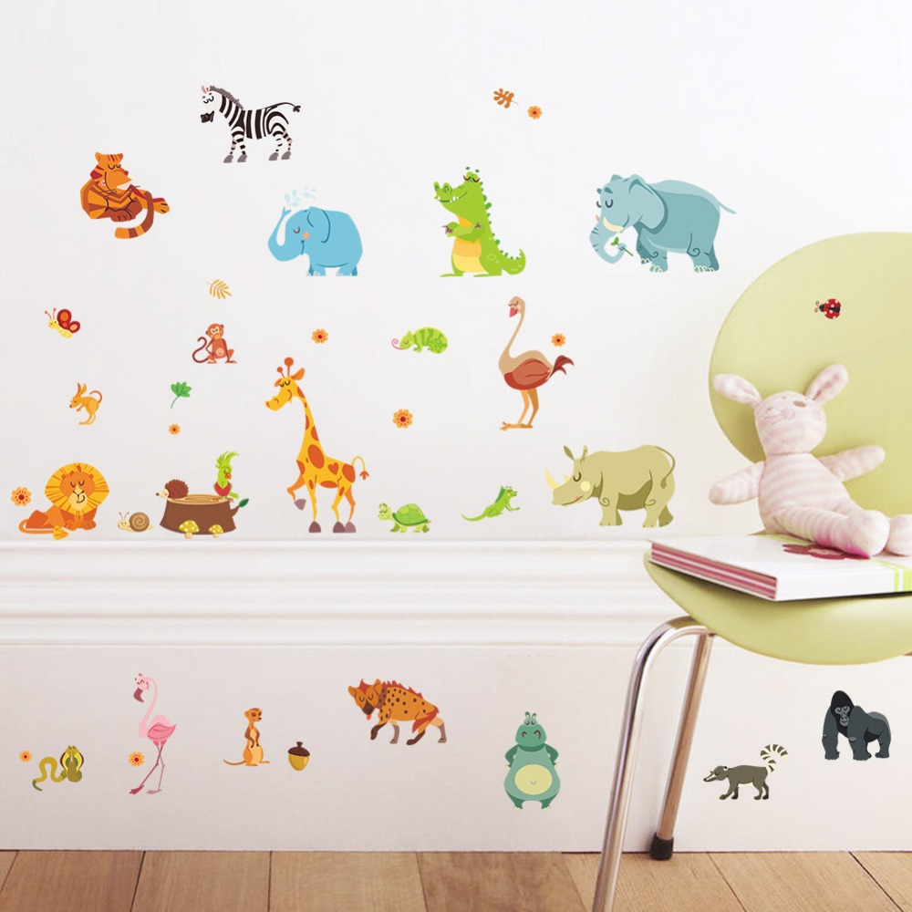 elephant butterfly wall decals promotion shop for promotional cartoon animal monkey giraffe butterfly elephant lion pvc wall stickers kids room living room bedroom home decor 3d wall decal