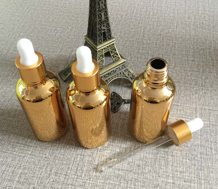 High Grade Golden Glass 30ml Dropper Bottle For E Liquid