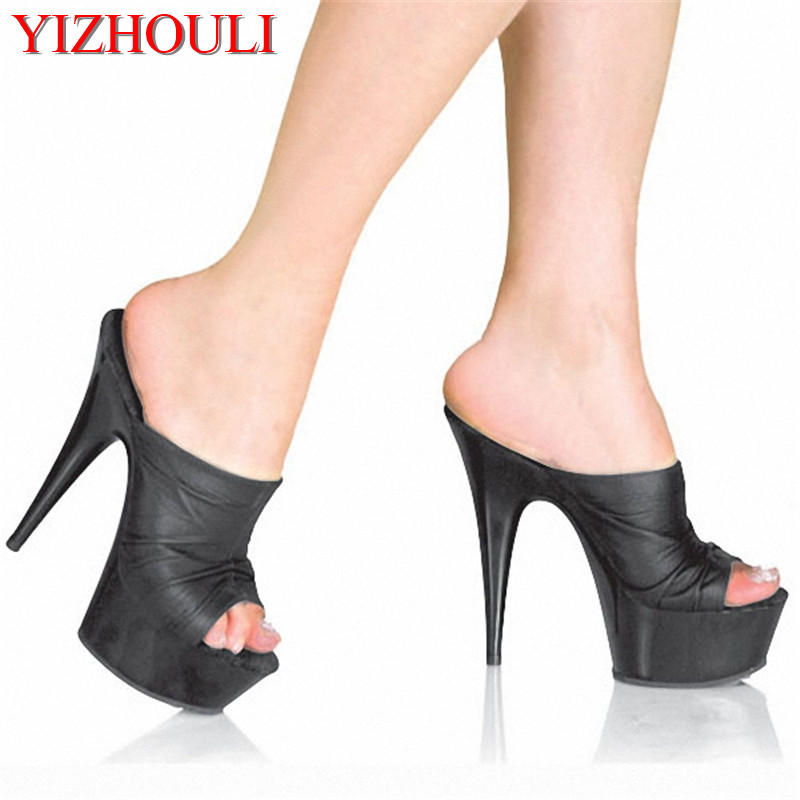 6 Inch Slide Heel With Leopard Sole Detail Temptation Leopard Print Sexy Transparent Ultrafine 15cm High-Heeled Shoes Slippers