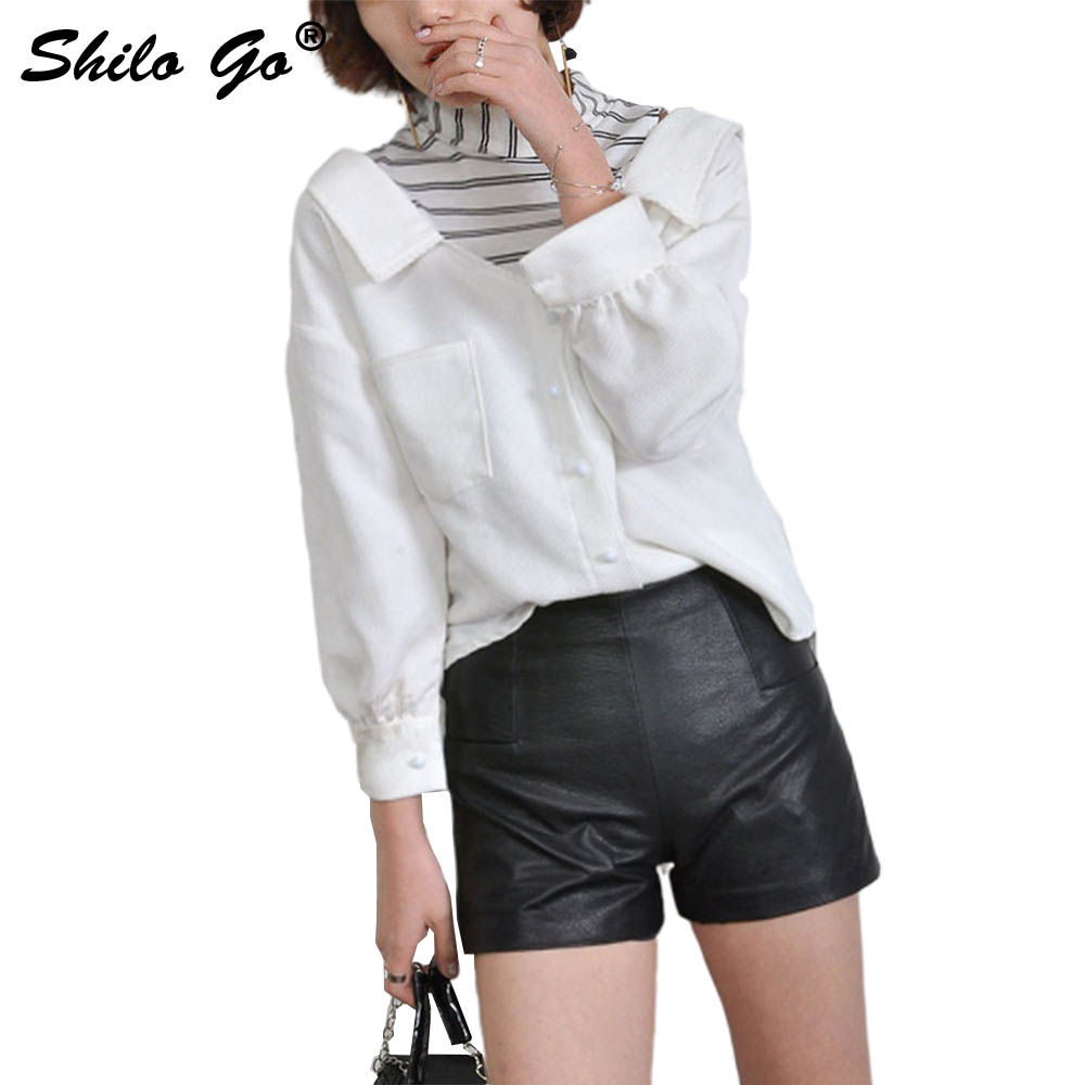 Leather Shorts Womens Spring Fashion Sheepskin Genuine Leather Shorts High Waist Sexy Back Zipper Concise Pencil Shorts
