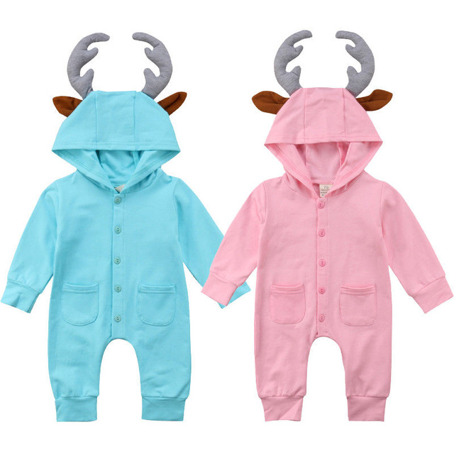 где купить Pudcoco One Piece Set Baby Clothes 2018 Autumn Newborn Baby Girl Boy Long Sleeve Deer Hooded Romper Jumpsuit Outfit Baby Clothes дешево