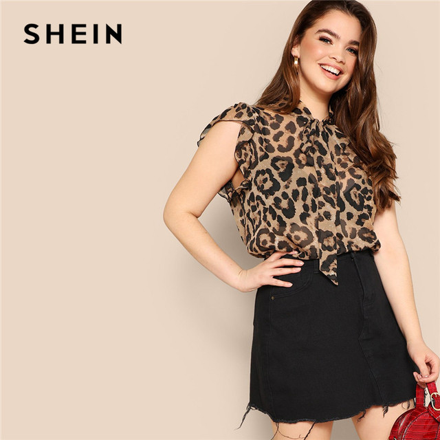SHEIN Plus Size Women Blouses Tied Neck Sexy Leopard Print Sheer Sleeveless Blouse Ruffle Trim Shoulder Summer Thin Tops Blouses