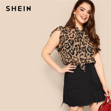 0962fa41498fee SHEIN Plus Size Women Blouses Tied Neck Sexy Leopard Print Sheer Sleeveless  Blouse Ruffle Trim Shoulder Summer Thin Tops Blouses