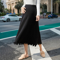 Korean Fashion Tassel Maternity knitted Skirts Autumn Winter Elastic Waist Belly A Line Pregnancy Skirts for Pregnant Women