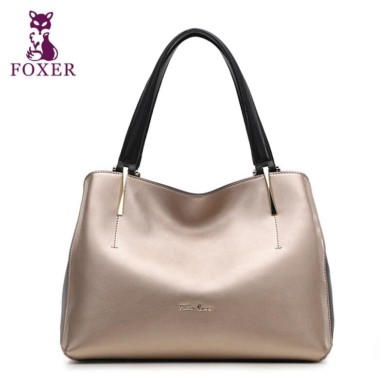 Genuine Leather handbag  Foxer  Handbag fashion wild Shoulder Messenger Bag Tote