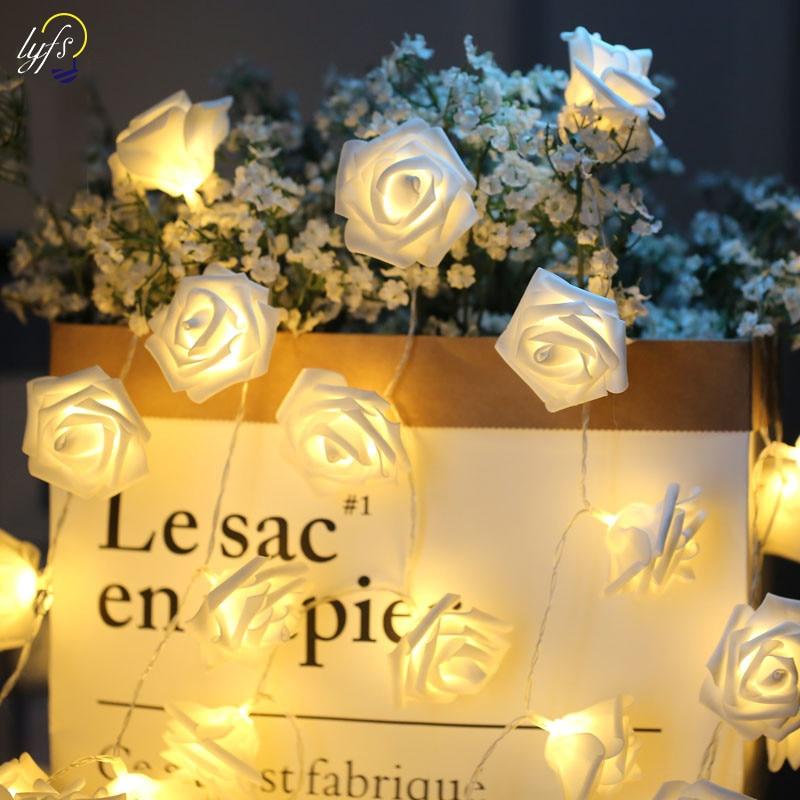 LYFS 1m 2m 4m Foam Rose Flower Fairy Lights Battery Power LED String Lights Garland Christmas Wedding Birthday Party Decoration in LED String from Lights Lighting