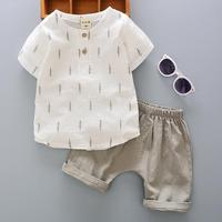 Boy Cotton And Linen Short Sleeve Shirt Set 2017 Cool Summer New Children S Clothing Breathable