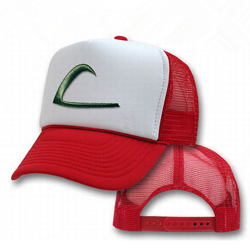 New Arrival Cosplay Anime Pokemon Hat Pocket Monster Pikachu Ash hat snapback baseball Cap Costume Play men&women Baseball Hat