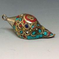 Eski Antik Çin Turkuaz Takı & Tibet Gümüş Conch metal el sanatları