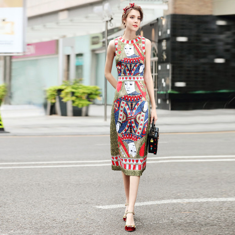 Europe high quality runway dress spring and summer poker card printing long dress sleeveless ladies dress sleeveless vestidos