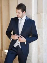 Traje De Novio 2016 New Custom Made Fashion Blue Tuxedos Grooms Suits Wedding Suits Formal Party Suits Evening Suits