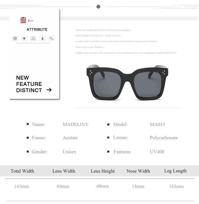HTB1eicgbQfb uJjSsrbq6z6bVXal - MADELINY Fashion Sunglasses Women Vintage Brand Design Square Luxury Sun glasses Big Frame Shades Eyewear Oculos UV400 MA033