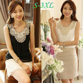 Plus size xxxl verão estilo 2015 moda branco preto sem mangas o pescoço bordado de diamantes mulheres camisa blusa chiffon plissado