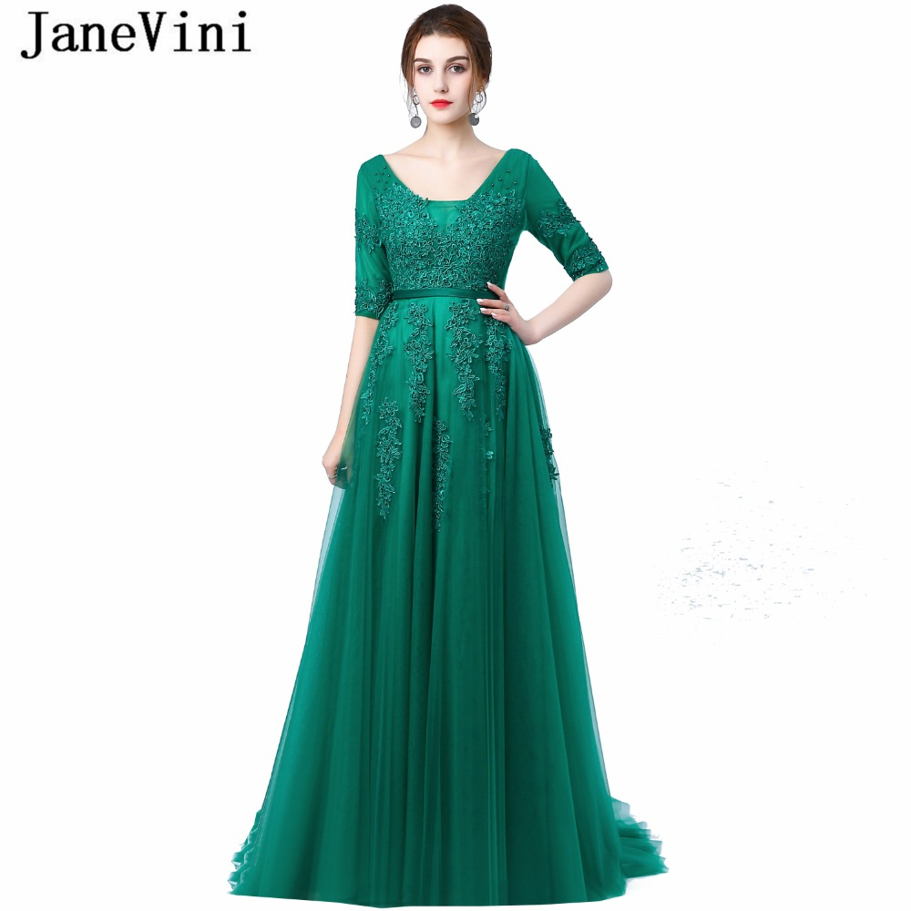 JaneVini 2018 A Line Long Bridesmaid Dresses Sexy Deep V Neck Half Sleeve Lace Applique Backless Sweep Train Emerald Green Dress