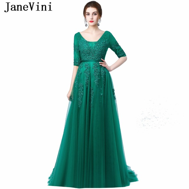 00431c519b74 JaneVini 2018 A Line Long Bridesmaid Dresses Sexy Deep V Neck Half Sleeve  Lace Applique Backless Sweep Train Emerald Green Dress