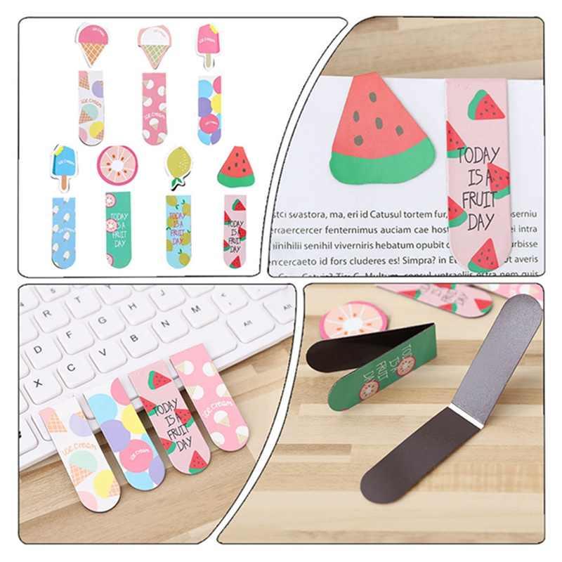 2 יח'\סט Kawaii חמוד פירות גלידת מגנטי סימניות ספר סמן של דף ספר מכתבים משרד אספקת מתגמל הפרס