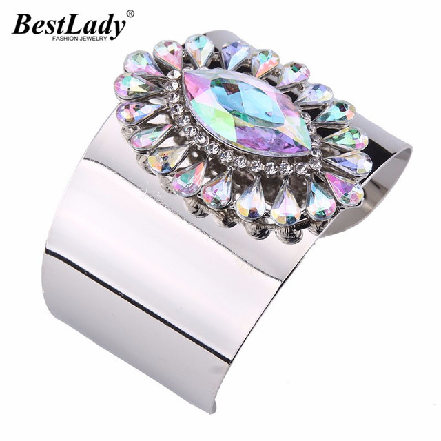 New Arrival Big Brand Multicolored Luxury Maxi Cuff Bangles Women Female Vintage Hot Wedding Bangle Bracelet 4093