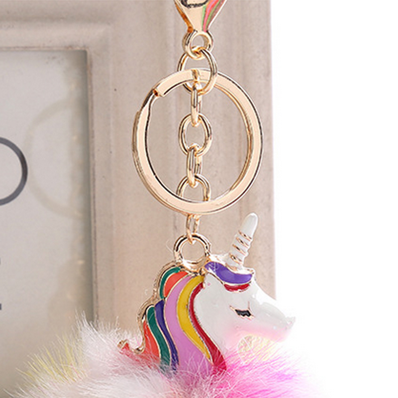 Anime Unicorn With Pom Pom Plush Toy With Keychain Unicorn Key Pendant  Soft Stuffed Animal Toys Kids Girls Bag Hang Pendant #4