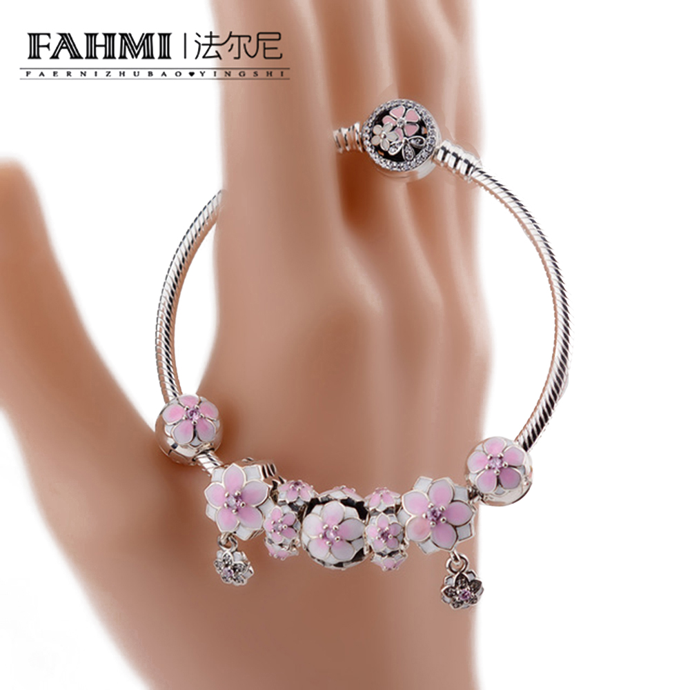 FAHMI Genuine 100% 925 Sterling Silver Bracelet Pollen series For Set Women Bracele Original birthday Gift charm bead Jewelry airborne pollen allergy