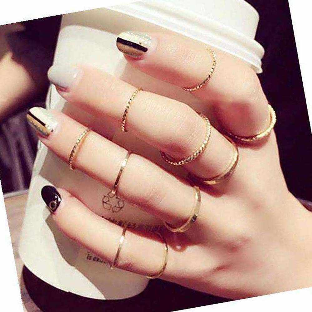 Finger Rings Korean Version Joint Ring Set Tide Combination Tail Rings Female Fashion Jewelry Geometric Fashion Vintage Gifts
