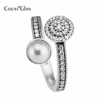 925 Sterling Silver Freshwater Pearl Radiant Glow Rings For Women Pave AAA CZ Wedding Ring 2017