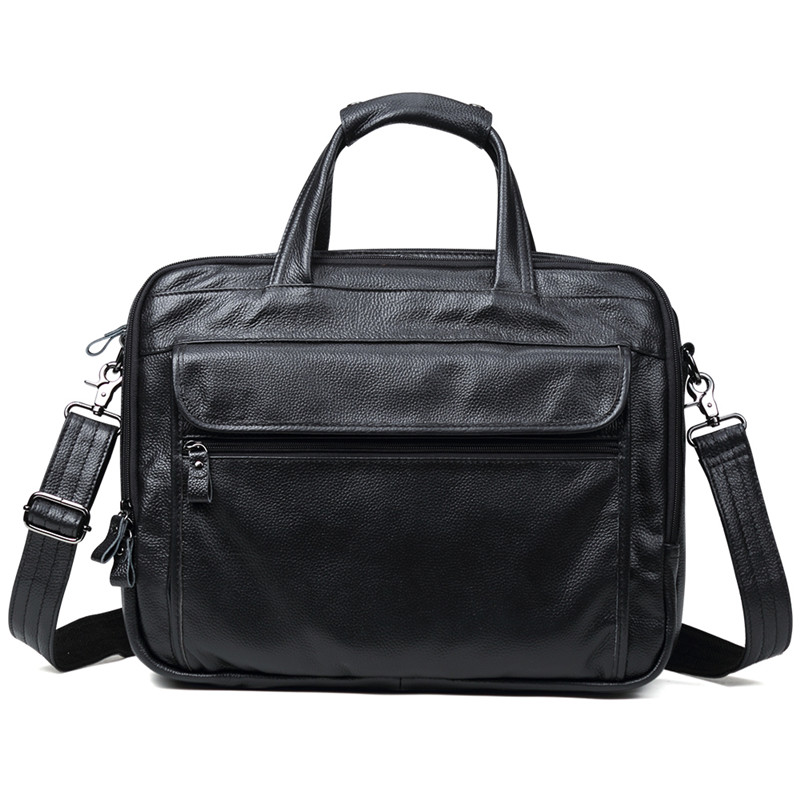Uniego New Genuine Leather Men Briefcase Male Shoulder Bag Casual Business Handbag Laptop Bags Men Crossbody Messenger Bags J08 men genuine leather bag business men bags briefcase luxury shoulder bags laptop crossbody messenger bag handbag bolsa masculina